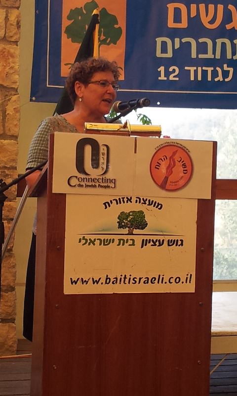 The crowd was addressed by Miriam Peretz who is a famous 'mother in Israel'.